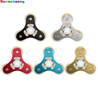 10PCS Lot Triangle 4 Teeth Mechanical Gear Linkage Fidget Hand Spinner Alloy Fingerspinner EDC Decompression Toys