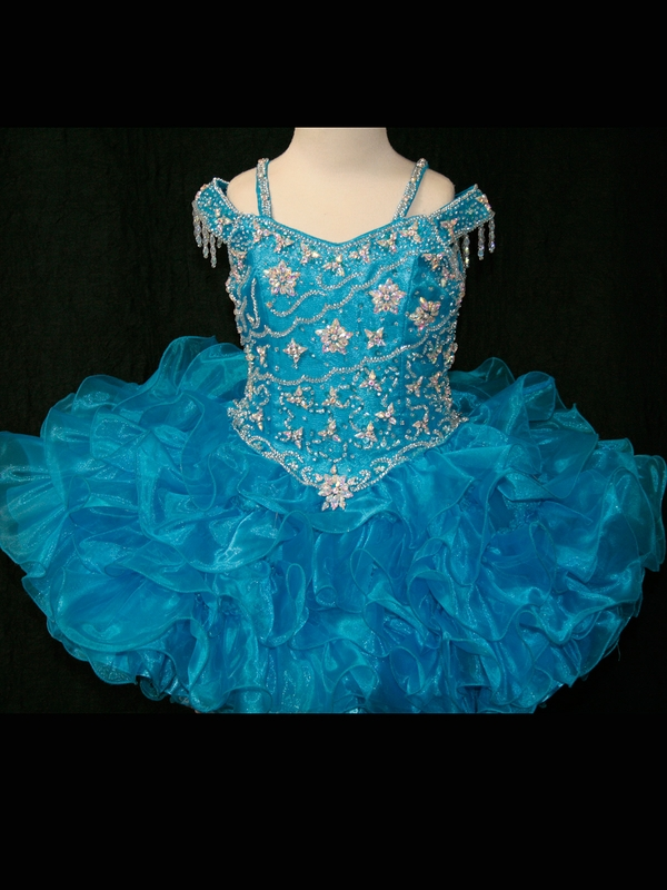 New Ball Gown   Flower     Girl     Dresses   With Off The Shoulder Beaded Ruffles Organza Short Pageant   Dresses   For   Girls   Zipper Up