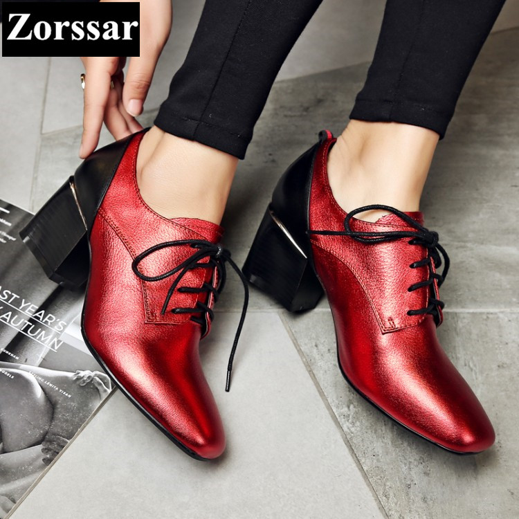 ФОТО 2017 NEW PLUS SIZE 33-43 Genuine leather Womans shoes lace-up Square Toe high heels pumps women comfort thick heel shoes