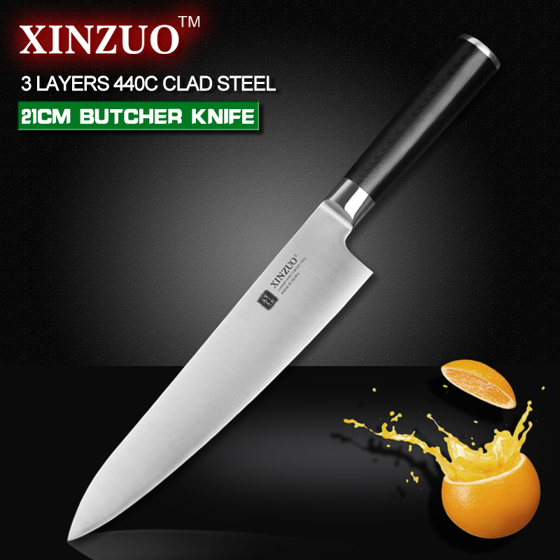 XINZUO 8 inch butcher font b knife b font 3 layer 440C clad steel chef font