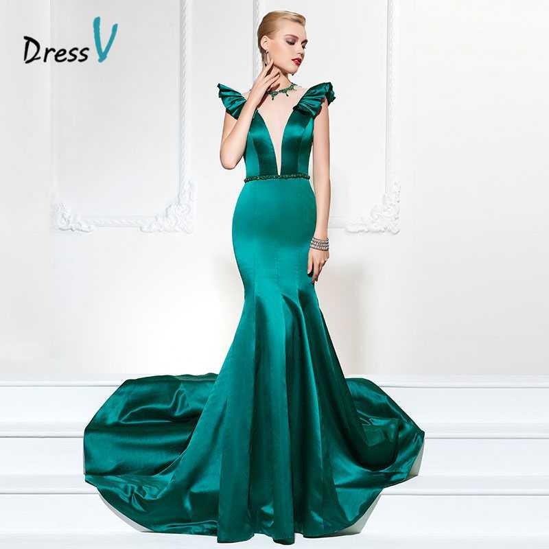 Dressv vert foncé 2017 mode robe de soirée mancherons perles volants sirène & trompette longue robe de soirée robes de soirée formelles
