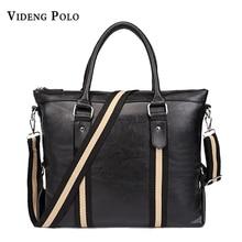 VIDENG POLO leather bag stripe designer handbags high quality shoulder bags vintage men messenger bags Business Laptop Briefcase