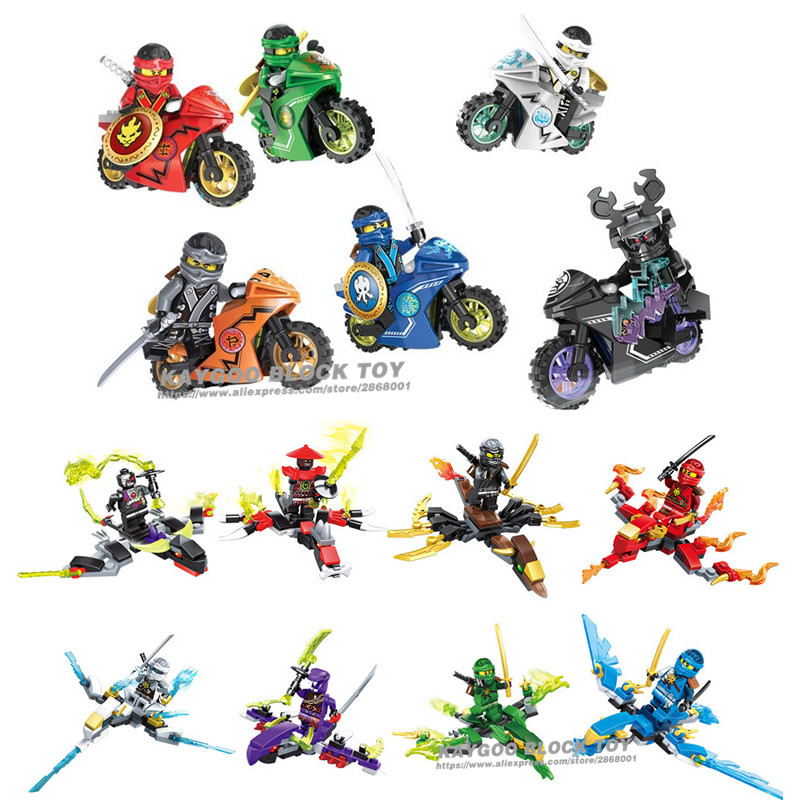 Motorcycle Mini Blocks Jay Lloyd Skylor Zane Pythor Chen Building Blocks Toys Compatible With legoINGly Ninjagoed figures