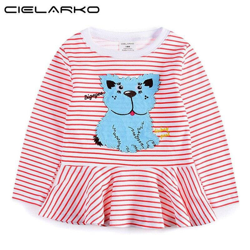 Cielarko Girls Striped Dress Cartoon Long Sleeve Kids T shirts Dresses Children Applique Dog Autumn/Fall Clothes for Baby Girl
