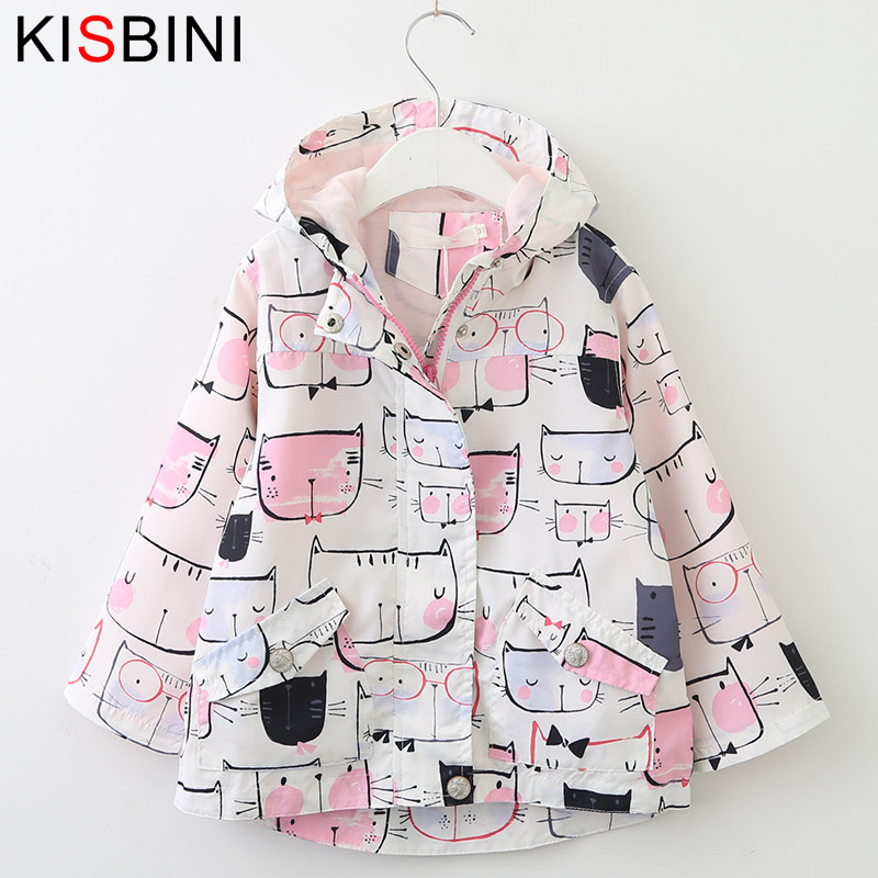 KISBINI cartoon cat printing casual hooded windbreaker childrens clothing girl kid clothes autumn coat winter jackets girls new