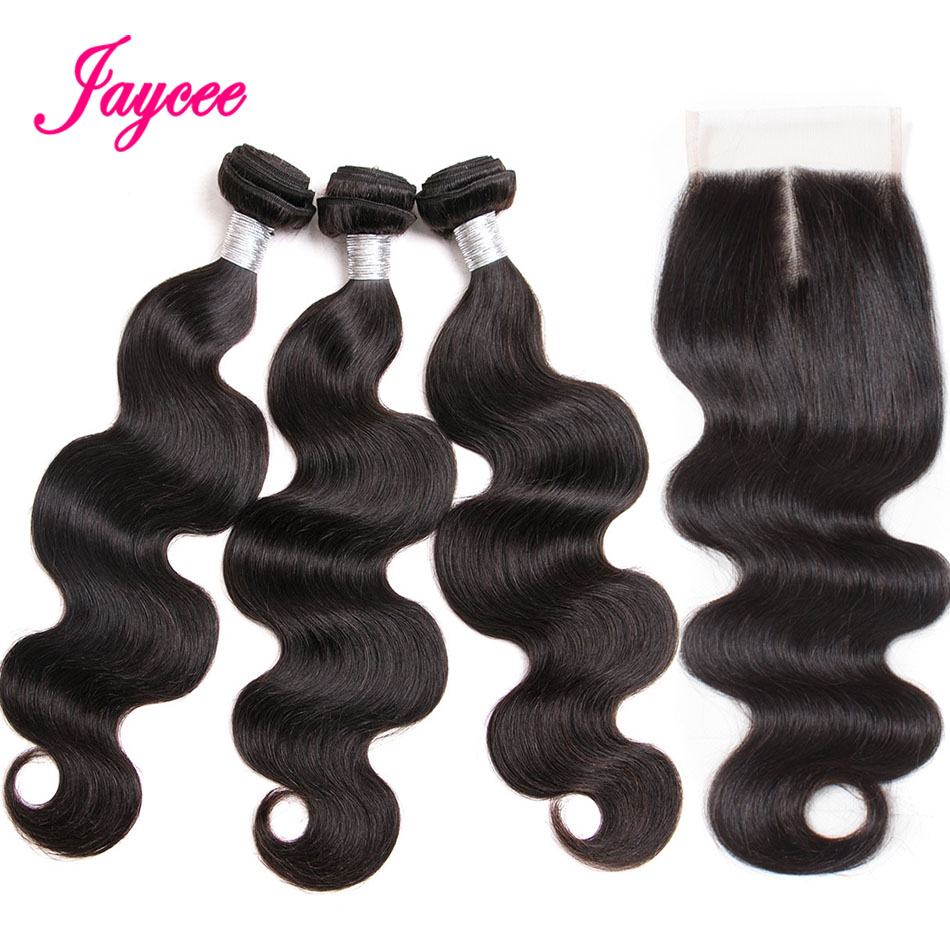 Jaycee Hair Brazilian Body Wave With Closure 3 Bundles Non-remy Human Hair Weave With Lace Closure 4*4 Middle Part