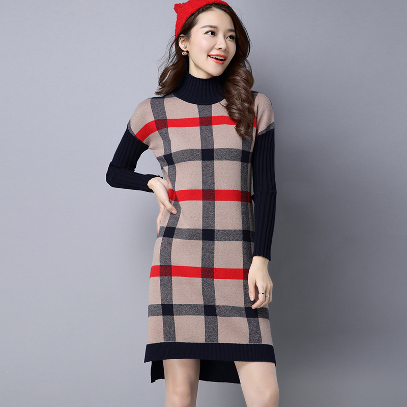 2018 Autumn Winter Women Cashmere Sweater Dress Female Turtleneck Thick Warm Plaid Wool Dress Split Knitted Dresses Vestidos