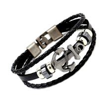 European Jewelry Manufacturers Factory Alloy Anchor Cow Leather Bangle Bracelet Punk Genuine Leather Bracelet For Men Women ubeauty punk adjustable double buckles rivets studded cuff bangle genuine cow leather bracelet men