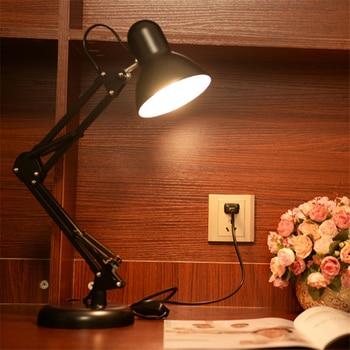 Protect Eye Reading Desk Light Folding Swing Arm LED Table Black Lamp Metal Working Light 110V-220V LED Desk Lamps фото
