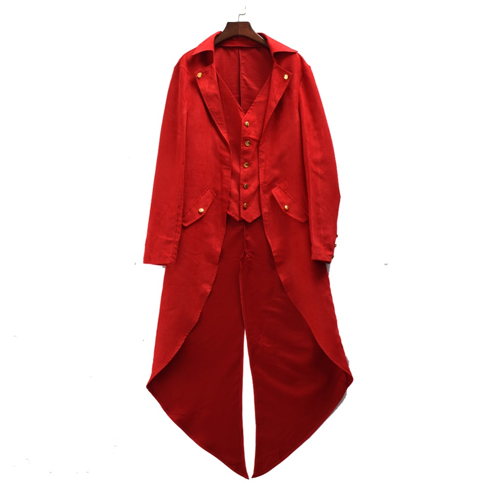 Medieval Coat Vintage Men Victorian Gothic Steampunk Swallow-tailed Tailcoat Jacket Tuxedo Swallow Tail Frock Jacket Trench