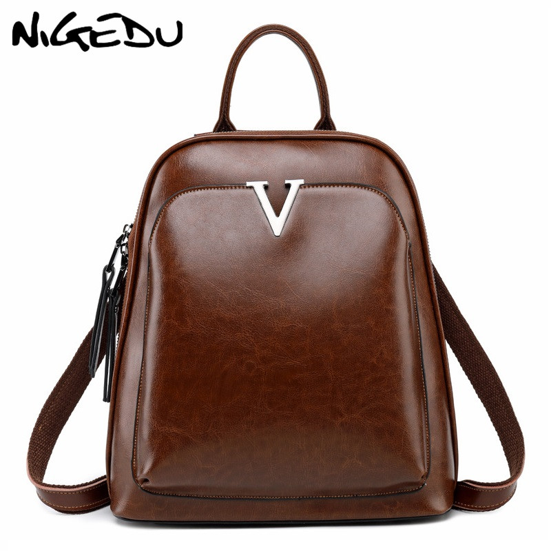 цена на Vintage Genuine Leather Women backpack School Bag Brand design multifunctional backpack female shoulder bags Daypack bagpack
