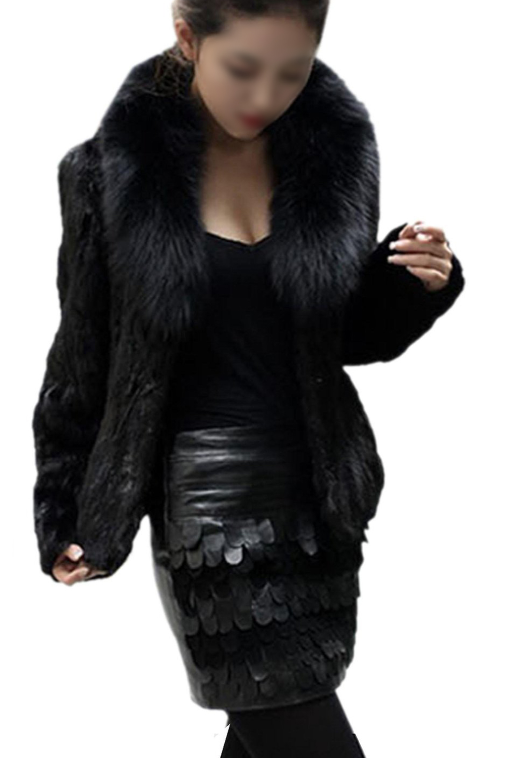 SYB 2016 NEW Womens Faux Fur Imitation mink hair Nagymaros collar long-sleeved short coat black
