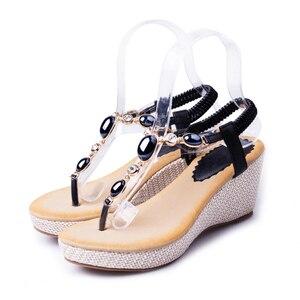 Image 4 - BEYARNE summer new sweet slope with female high heeled sandals women Bohemian diamond students shoes flip flops