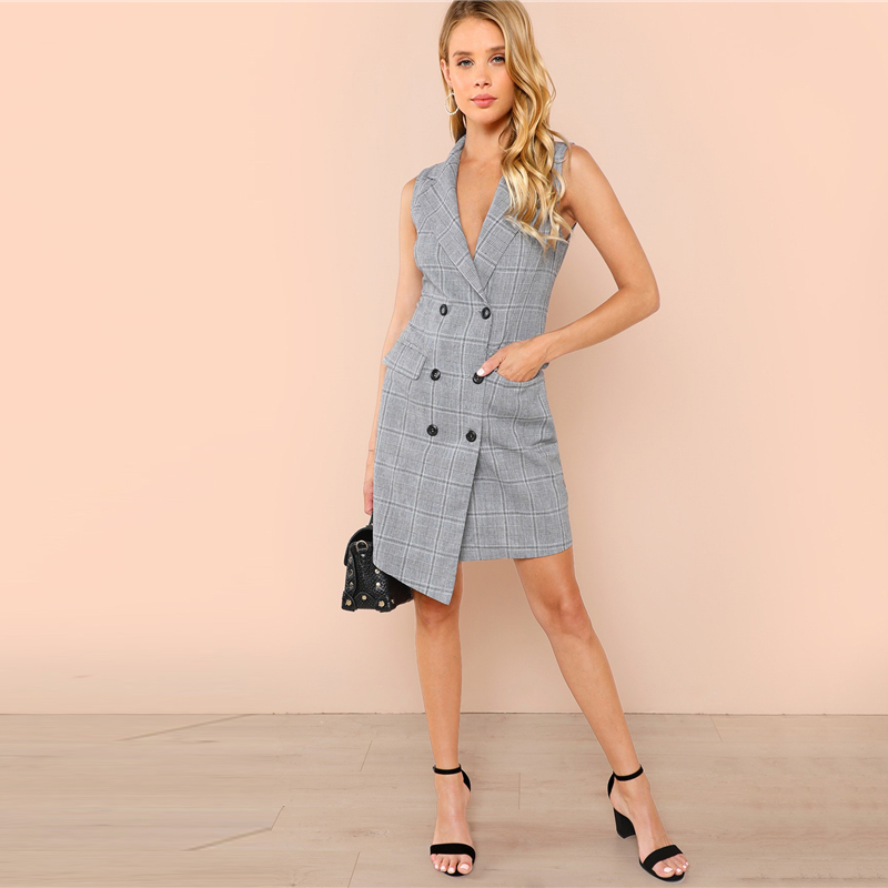 COLROVIE Plaid Work Wrap Button Pockets Vintage Dress V Neck Shirt Sexy Dress Women Autumn Elegant Mini Summer Dresses 12