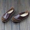 Ручной ретро марка женщины квартиры обувь из натуральной кожи женщина мода осень квартиры обувь повседневная мода новый 2016 бренд