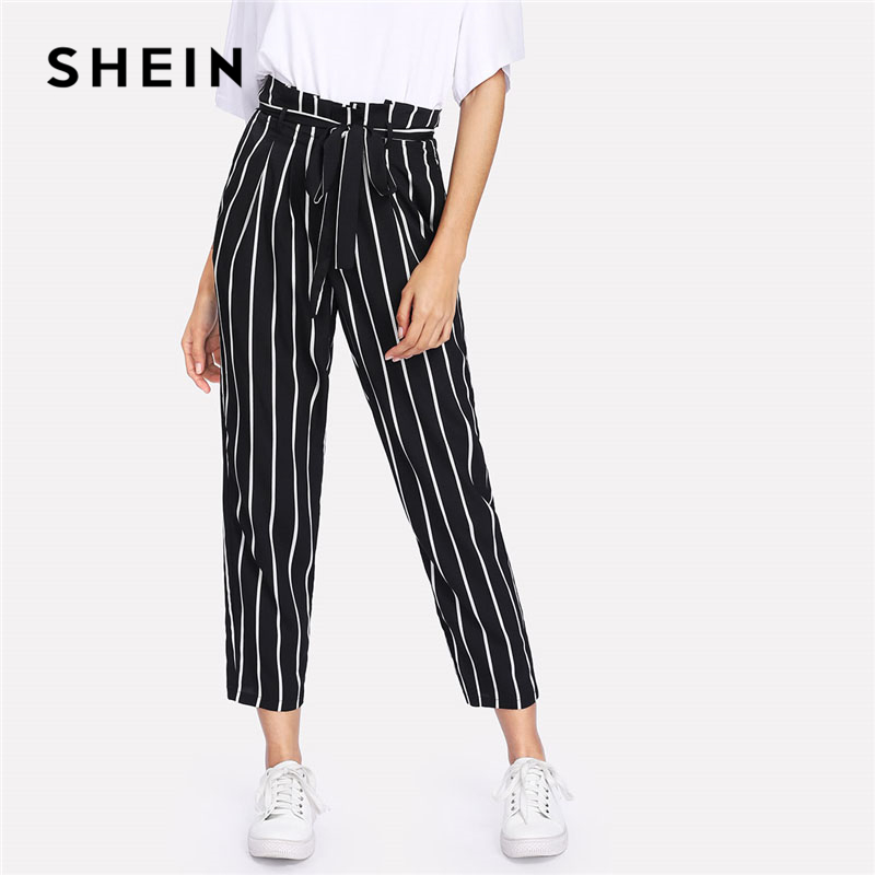 SHEIN Self Belt Striped Pants Women fashion Clothing High Waist Zipper Fly Trousers 2018 Spring New Casual Carrot Pants
