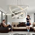 40 cm 60 cm 80 cm modernas luzes do pendente para sala de estar sala de jantar círculo anéis de acrílico corpo de alumínio led dispositivos elétricos da lâmpada do teto