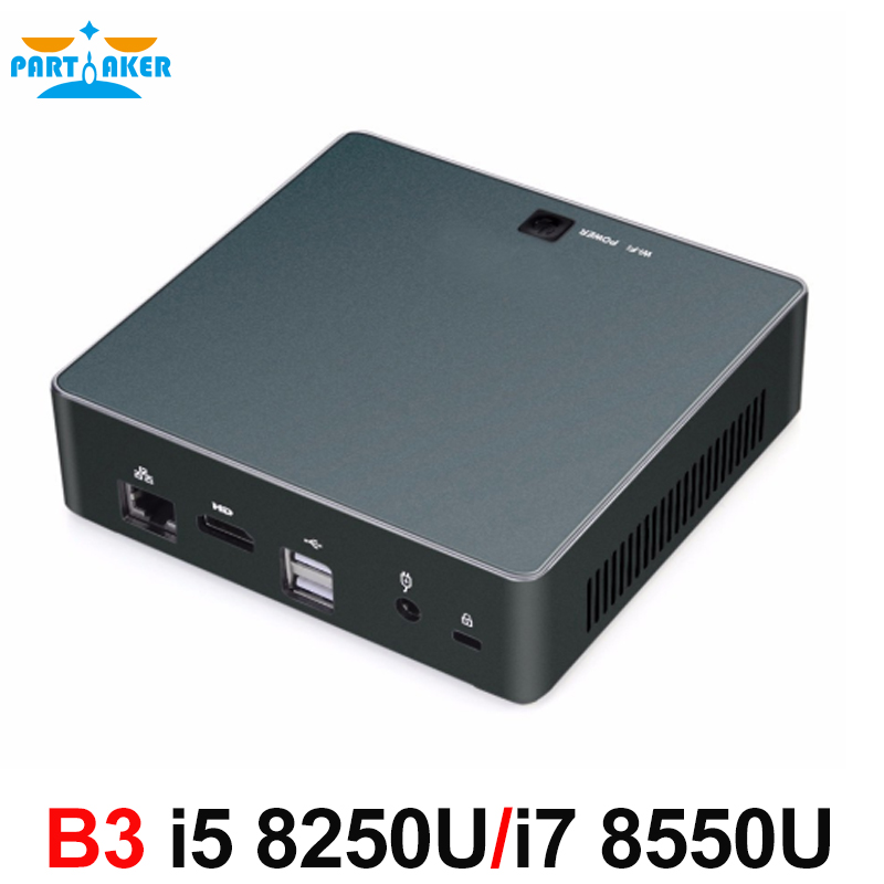 Partaker B3 DDR4 Mini PC 8th Gen Intel Core I7 8550U I5 8250U Quad Core NGFF SSD HDMI Type-C Micro PC Win10 Pro Barebone HTPC