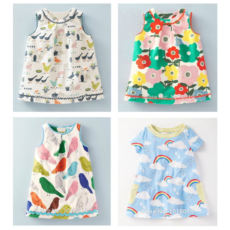 Brand Quality 100% Cotton 2017 New Baby Girls Dresses Summer Children Clothing Kids Clothes Girls Casual Dress Baby Girl Clothes little maven 2017 new summer baby girls floral print dress brand clothes kids cotton duck rabbit printing dresses s0136