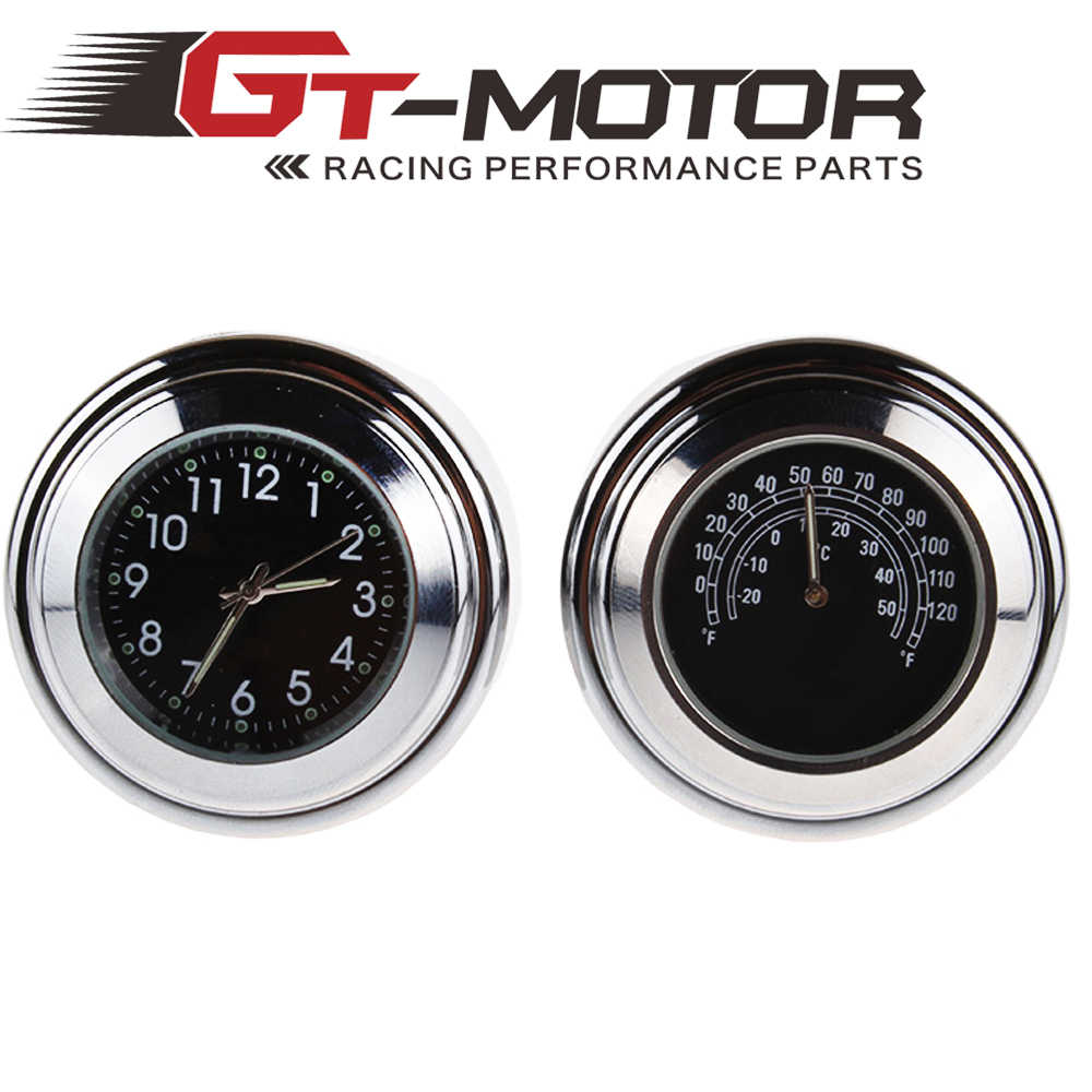 "GT Motor - 1"" Chrome Black Waterproof 7/8"" 22mm Handlebar Mount Temp Thermometer Clock Watch Instruments Motorcycle Accessories"