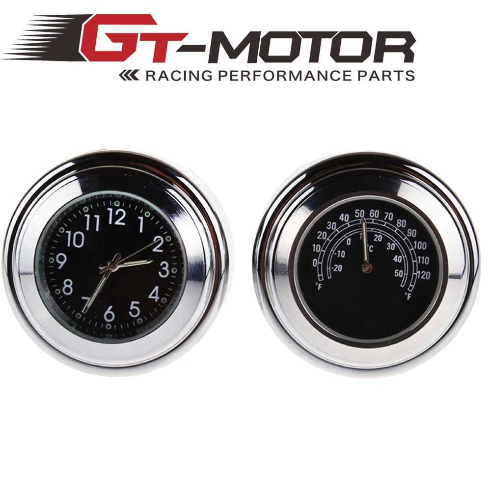 GT Motor - 78 1 Motorcycle Handlebar Black White  Clock Temp Thermometer