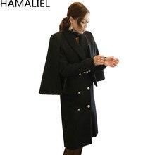 HAMALIEL, зимняя женская черная твидовая верхняя одежда, модная двубортная накидка с длинным рукавом, 2 предмета, шерстяное пальто с отложным воротником