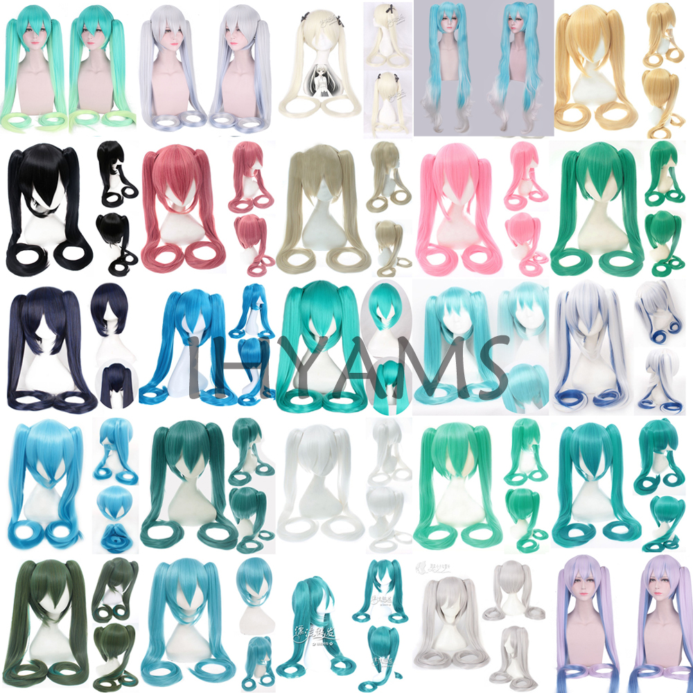 28 Colors Vocaloid Hatsune Miku Wig Black Rock Shooter Senbon Zakura Cosplay Wig Long Synthetic Hair Chip Ponytails + Wig Cap