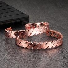 Vinterly – Bracelet en cuivre magnétique pour hommes et femmes, manchette ouverte réglable, arthrite, santé, énergie
