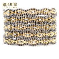 Lotus Mann mixte or et argent avec perles de cristal en cinq tours gris en cuir cordon bracelet