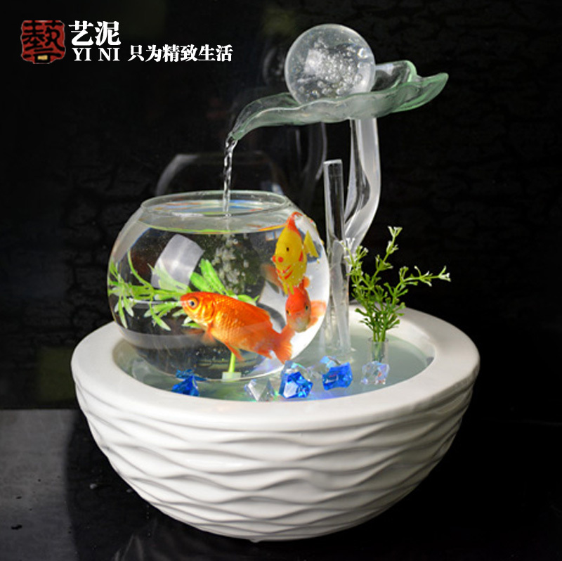 Housewarming Wedding Gifts Glass Ball Ornaments Ceramic Water Fountain Feng  Shui Living Room View Desktop Decoration Indoor Aqua On Aliexpress.com |  Alibaba ...