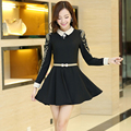 Middle-aged ladies new winter lace Puff  mother dress big yards waist dress