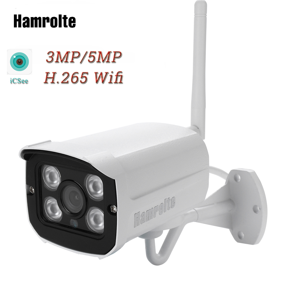 Hamrolte Wifi Camera HD 5MP Wireless IP Camera H.265 iCSee Outdoor Wifi Camera Waterproof Nightvision Remote Access Support 128G