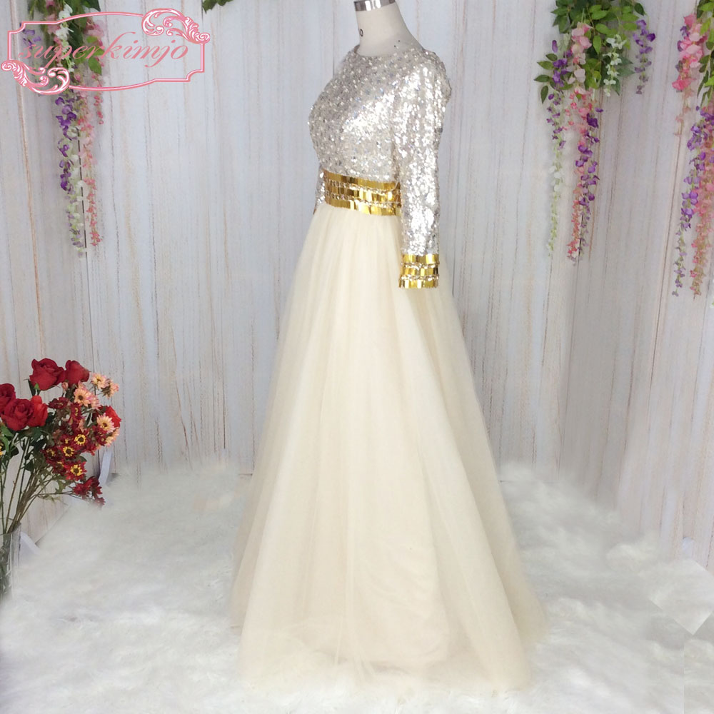 SuperKimJo Long Sleeve Champagne Prom Dresses with Rhinestones A Line  Elegant Sequins Sparkly Evening Gown Casamento-in Prom Dresses from  Weddings   Events ... 2b98aa66f276