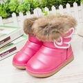 Nova moda de inverno para crianças de pele de coelho botas de neve crianças quente sapatos de bebê botas menina pelúcia à prova d ' água botas Eur 21 - 30