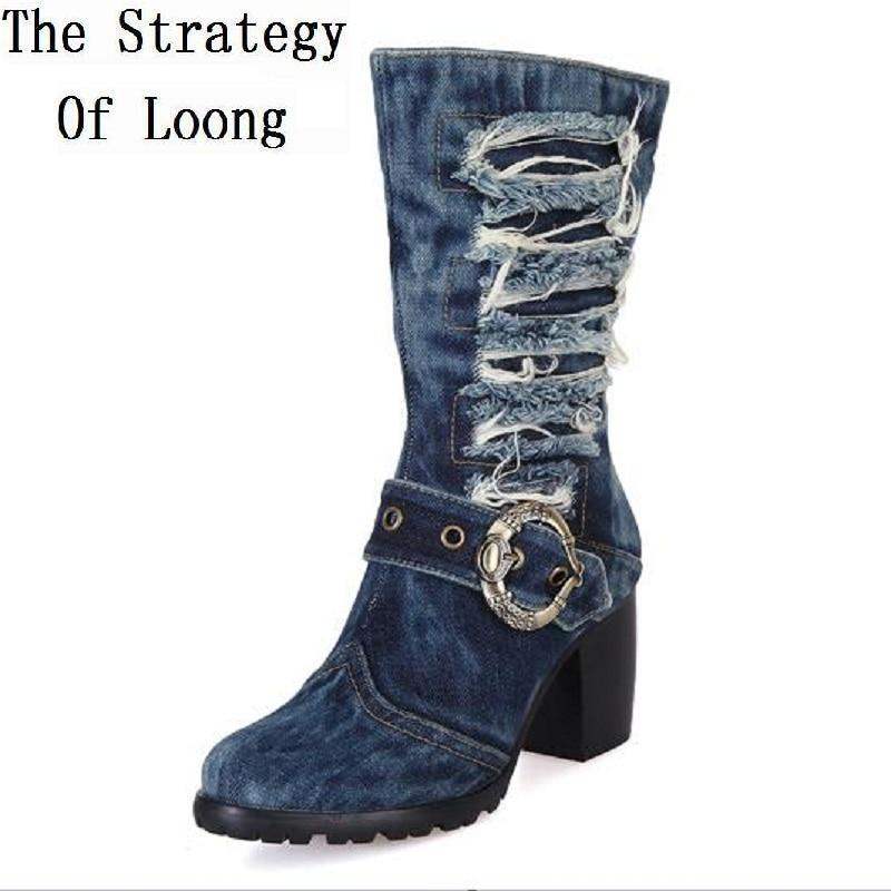 Ayakk.'ten Diz Altı Çizmeler'de Kadınlar Vintage denim kalın yüksek topuklu kısa çizmeler 2019 yeni moda sonbahar kış retro jean Şövalye Savaş botları SXQ0602'da  Grup 1