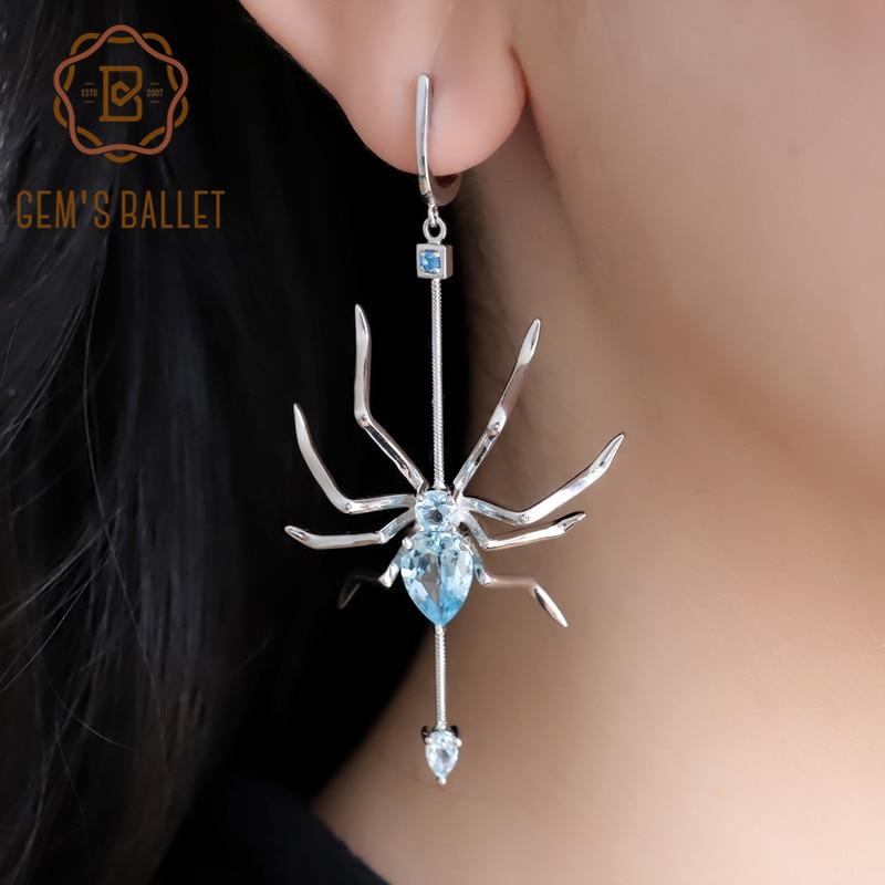 GEM'S BALLET Natural Sky Blue Topaz Spider Drop Earrings 925 Sterling Silver Gemstone Punk Hyperbole Earrings For Women Party