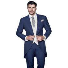 Men's suits,Arrive quality A Button The Groom Dress Perfect Wedding Groomsman Long Suit custom(jacket + Pants + Vest)