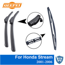 QEEPEI Front and Rear Wiper Blade no Arm For Honda Stream 2001-2006 High quality Natural Rubber windscreen 24+14