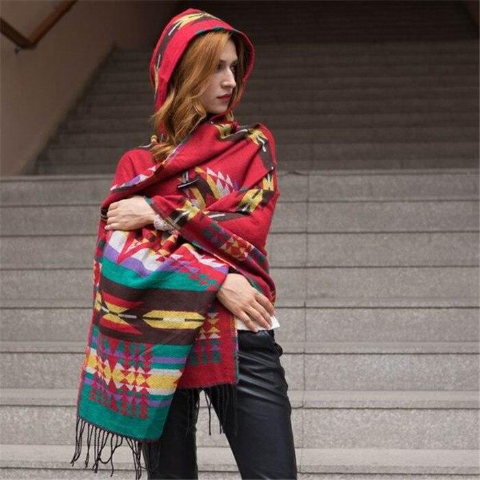 Новинка, модные зимние теплые клетчатые пончо и накидки для женщин, Большие шали и накидки, кашемировые пашмины женские накидки - Цвет: 26