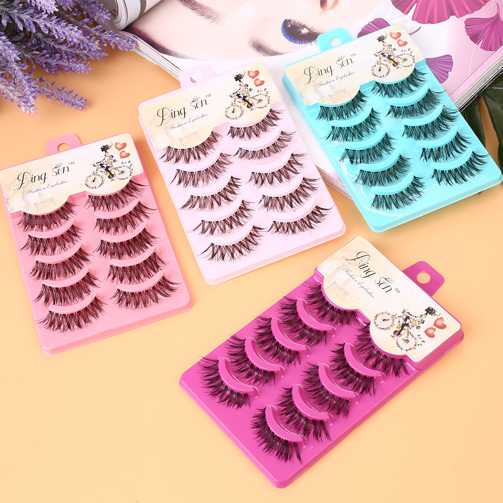 5 Pairs Handmade Thick Full False Eyelashes Natural Long Eyelashes Set Fake Lashes Eye Extension Tool Makeup