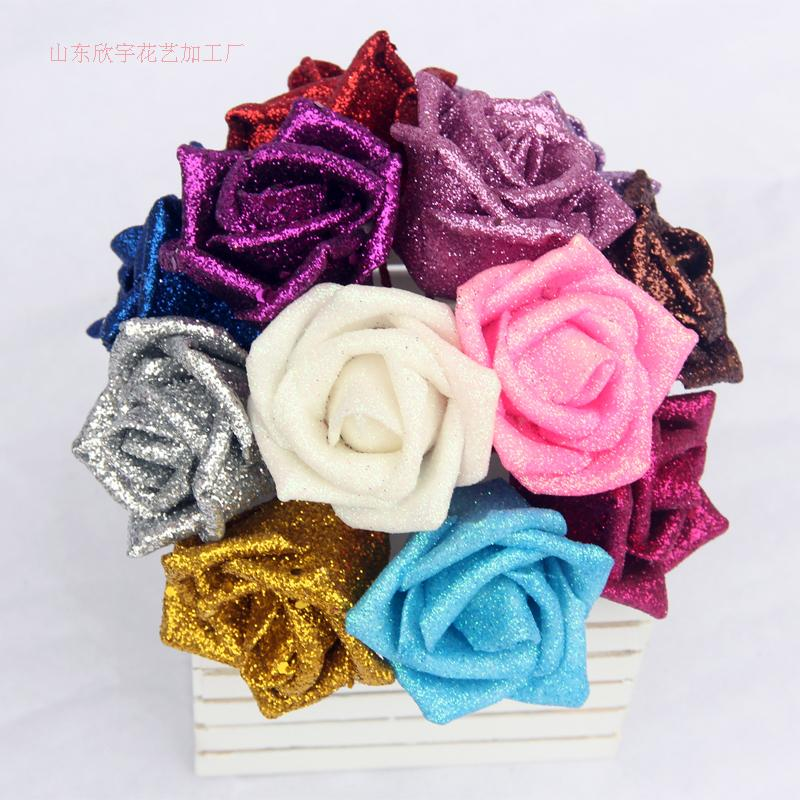 Real Touch PE Foam Artificial Glitter Flowers Rose Heads Christmas ...