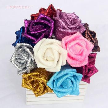 6CM Artificial Glitter Roses Diy Craft Blue Enchantress Multicolor Cartoon Bouquet Fashion Simple Wedding Decorative Flowers rose