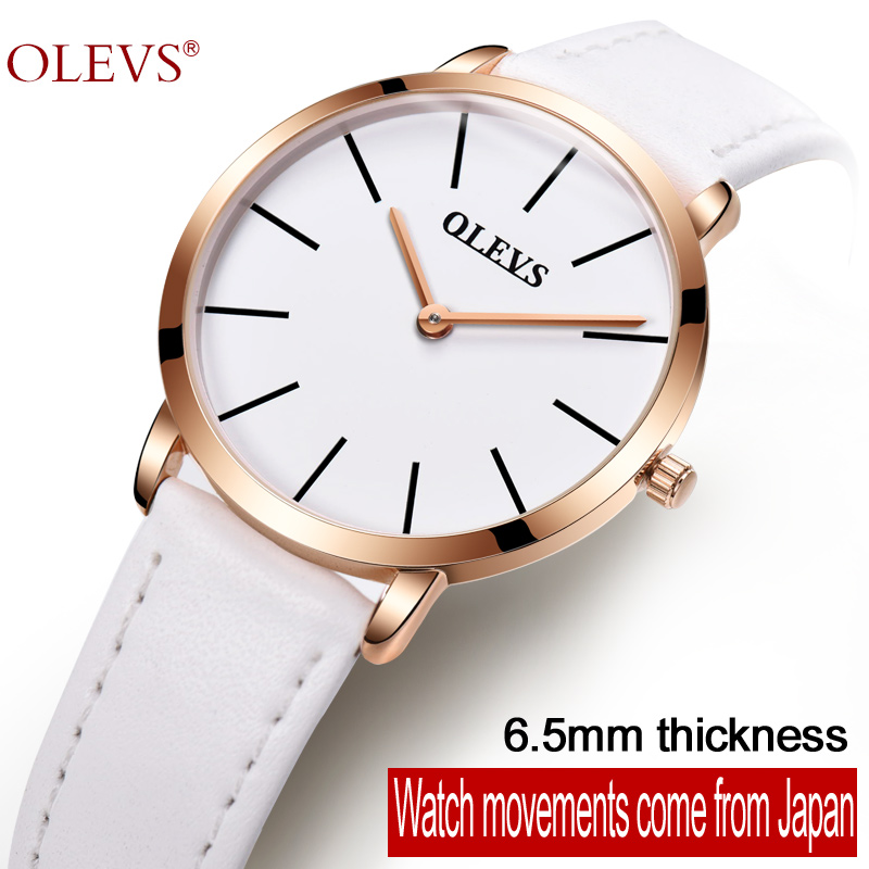 OLEVS Simple Woman's Wristwatch Ultra thin Dial Quartz Ladies Watches Top Waterproof Leather Strap Clock Women Watch Gift L5868P olevs 5873 luxury hollow out dial watch women luminous hands golden quartz watches leather wristwatch ladies clock reloj mujer