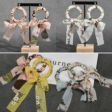 Diy accessories Korean cloth chiffon bow knot circle elegant fairy earrings earring materials