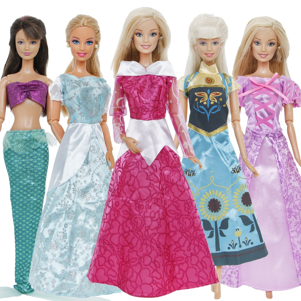 5 Pcs / Lot Fairy Tale Dress Copy Sleeping Beauty Anna Princess Gown Skirt Clothes For Barbie Doll Accessories Kid Xmas Toy