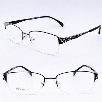e20212bdab36 66975 square shape halfrim metal with luxury carving flower pattern trendy  prescription progressive reading glasses for