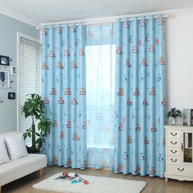 Rural style curtain model Cartoon printing owl curtains window cloth ...