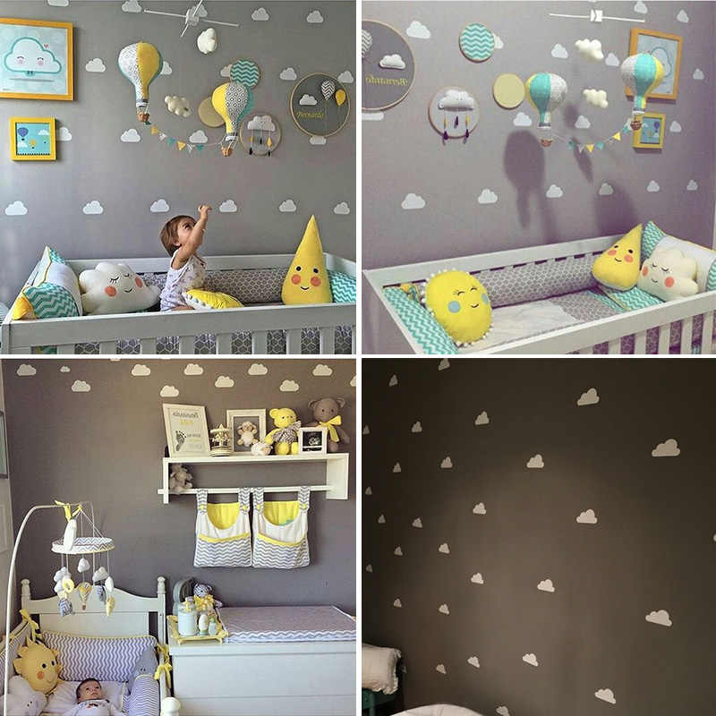 Cloud Baby Room Wall Sticker For Kids Boy Decor Bedroom Nursery Stickers Home