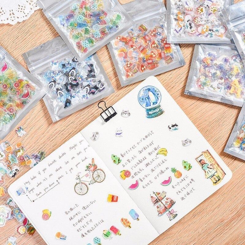 100PCS/Pack Transparent Mini Candy PVC Children Stationery Decorative Diary Label Pack Decorative Scrapbooking DIY Stickers