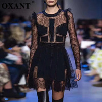 OXANT женские новые платья кружева сшивание заклепки перспектива сексуальные вечерние тонкие мини платья